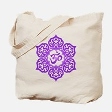 Purple Lotus Flower Yoga Om Tote Bag