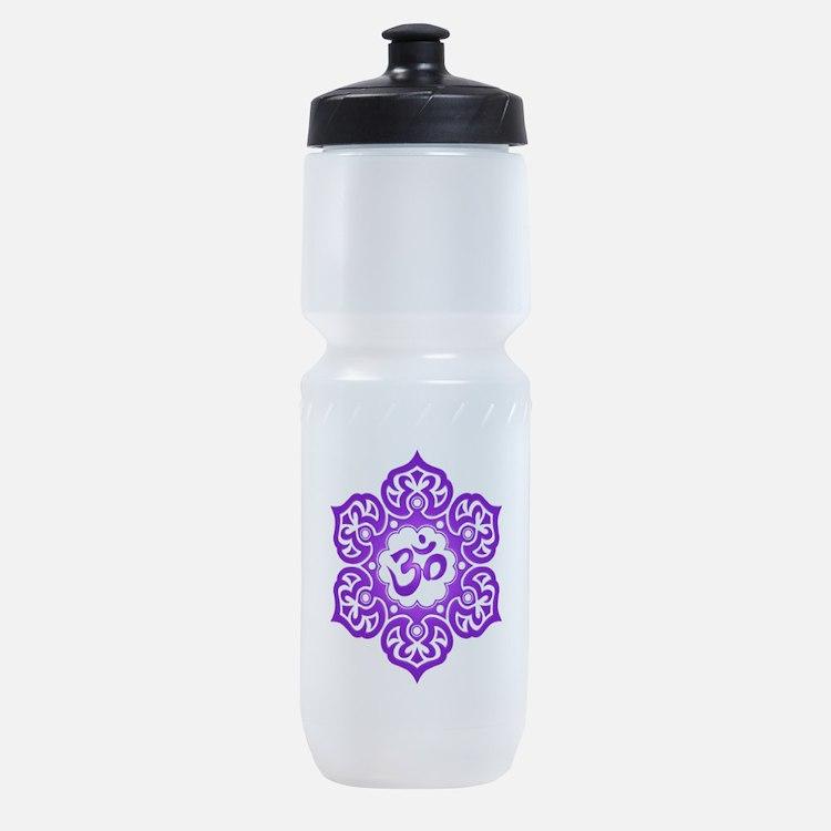 Purple Lotus Flower Yoga Om Sports Bottle