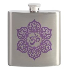 Purple Lotus Flower Yoga Om Flask