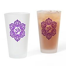 Purple Lotus Flower Yoga Om Drinking Glass
