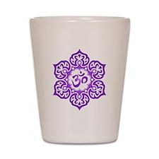 Purple Lotus Flower Yoga Om Shot Glass