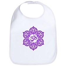 Purple Lotus Flower Yoga Om Bib