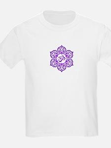 Purple Lotus Flower Yoga Om T-Shirt