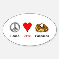 Peace Love Pancakes Sticker (Oval)
