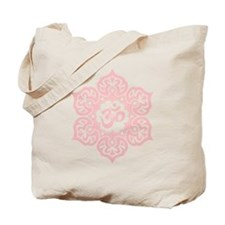 Pink Lotus Flower Yoga Om Tote Bag