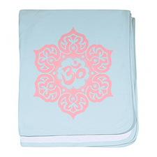 Pink Lotus Flower Yoga Om baby blanket