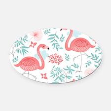 Pink Flamingos Oval Car Magnet