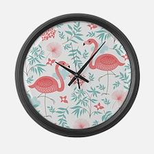 Pink Flamingos Large Wall Clock