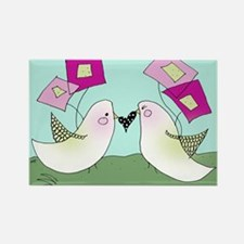 Blushing Birds Rectangle Magnet