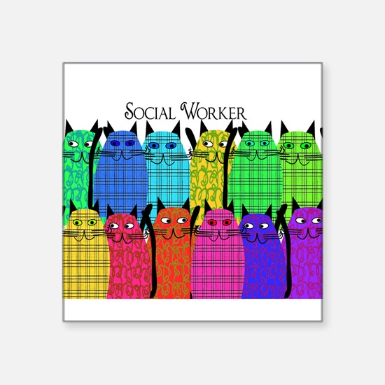 "Cute Social worker Square Sticker 3"" x 3"""