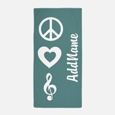 Peace Love Music Beach Towel