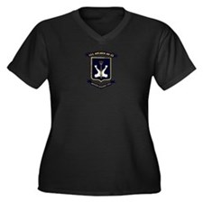 USS ARCADIA Women's Plus Size V-Neck Dark T-Shirt