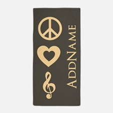Peace, Love, Music Personalized Beach Towel