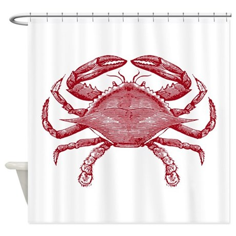 Vintage Crab Shower Curtain