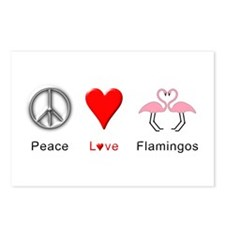 Peace Love Flamingos Postcards (Package of 8)