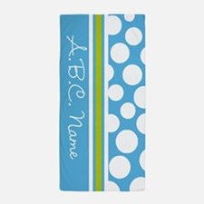Sky Blue & Green Polka Dots & Monogram Beach Towel