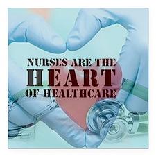 "Nurses hearthealthcare Square Car Magnet 3"" x 3"""