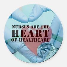 Nurses hearthealthcare Round Car Magnet