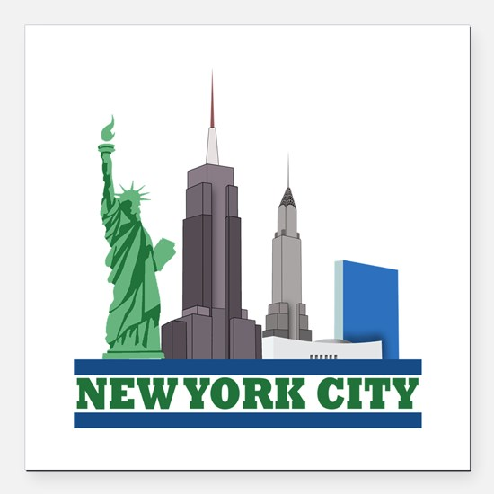 "New York City Skyline Square Car Magnet 3"" x 3"""