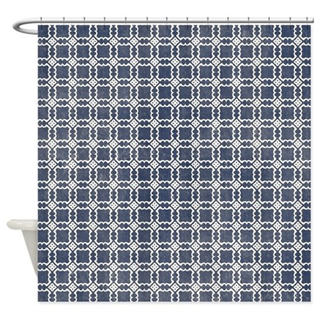 Navy Blue Shower Curtain By Verycute