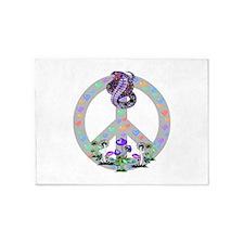 Peace Symbol Snake 5'x7'Area Rug
