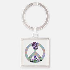 Peace Symbol Snake Keychains