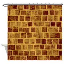 Brown Blocks Shower Curtain