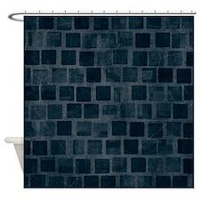 Dark Blue Blocks Shower Curtain