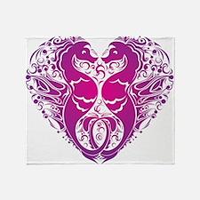 Pink Seahorse Heart Throw Blanket
