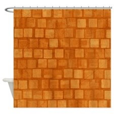 Orange Blocks Shower Curtain