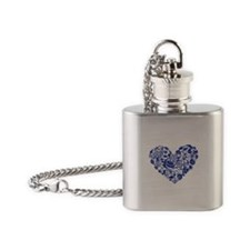 Blue Seahorse Heart Flask Necklace
