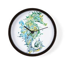 Paisley Seahorse Wall Clock