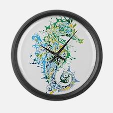 Paisley Seahorse Large Wall Clock