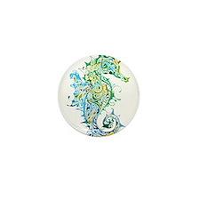 Paisley Seahorse Mini Button