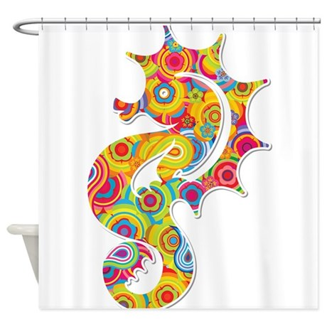 Multi Color Seahorse Shower Curtain By Underthesea2