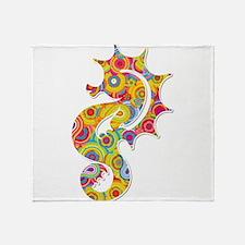 Multi Color Seahorse Throw Blanket