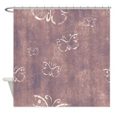 Faded Purple Antique Butterfly Shower Curtain