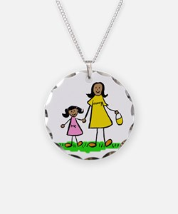 Mom and Daughter (Black Hair) Necklace
