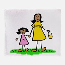 Mom and Daughter (Black Hair) Throw Blanket