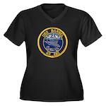 USS BARBEL Women's Plus Size V-Neck Dark T-Shirt