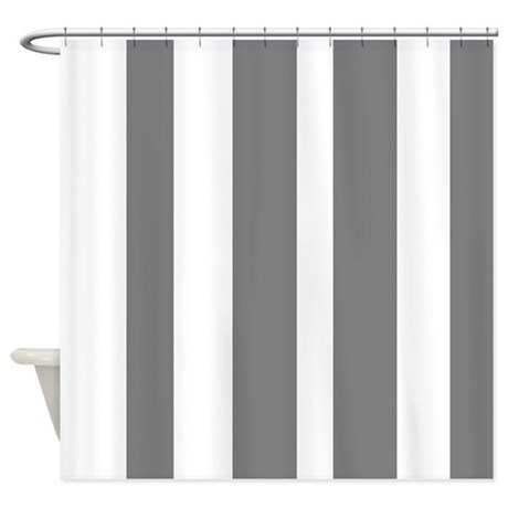 White And Grey Vertical Stripes Shower Curtain By VeryCute