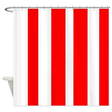 White And Red Vertical Stripes Shower Curtain By Verycute