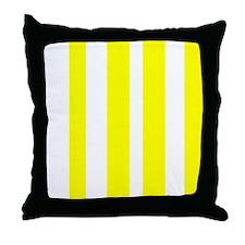 White And Yellow Vertical Stripes Throw Pillow