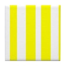 White And Yellow Vertical Stripes Tile Coaster
