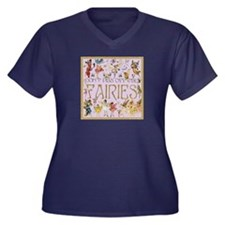 Faeries Women's V-Neck Dark Plus Size T-Shirt