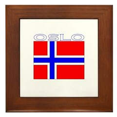 Oslo, Norway Flag (Dark) Framed Tile