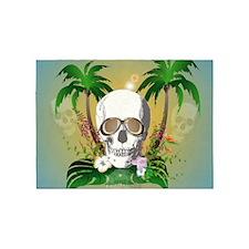 Skull with sunglasses 5'x7'Area Rug