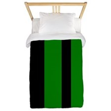 Black And Green Vertical Stripes Twin Duvet