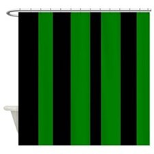Black And Green Vertical Stripes Shower Curtain