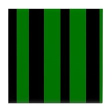 Black And Green Vertical Stripes Tile Coaster